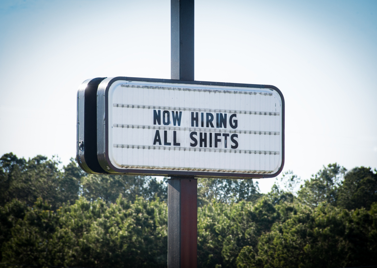 Now Hiring All Shifts Sign